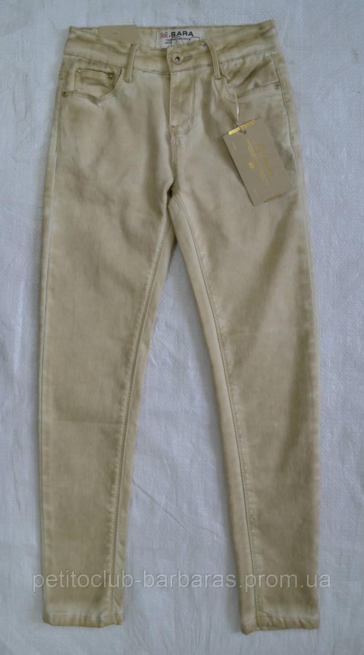 Детские летние мраморные джинсы для девочки бежевые (р. 128-176 см) (M.SARA, Польша)