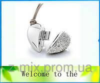 Флешка Сердечко с бриллиантиками цвет серебро