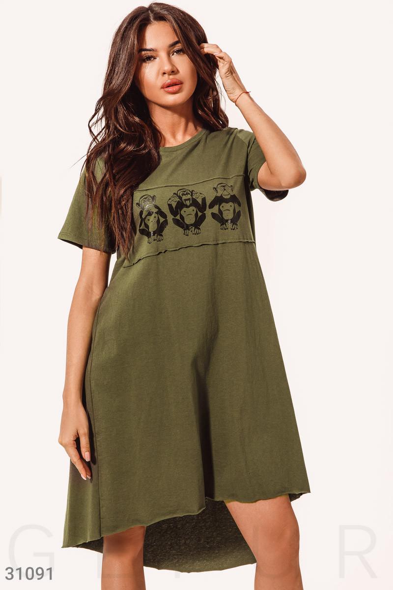 Свободное летнее платье туника цвета хаки