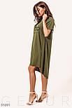Свободное летнее платье туника цвета хаки, фото 2