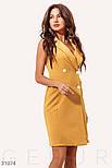 Летнее приталенное платье-пиджак классического кроя горчичное, фото 2