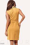Летнее приталенное платье-пиджак классического кроя горчичное, фото 3