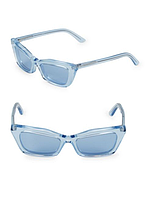 """Женские оригинальные стильные голубые очки """"Rectangular Cat Eye"""" популярного бренда Balenciaga"""