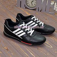 Кроссовки кожаные мужские на шнуровке, цвет черный, фото 1
