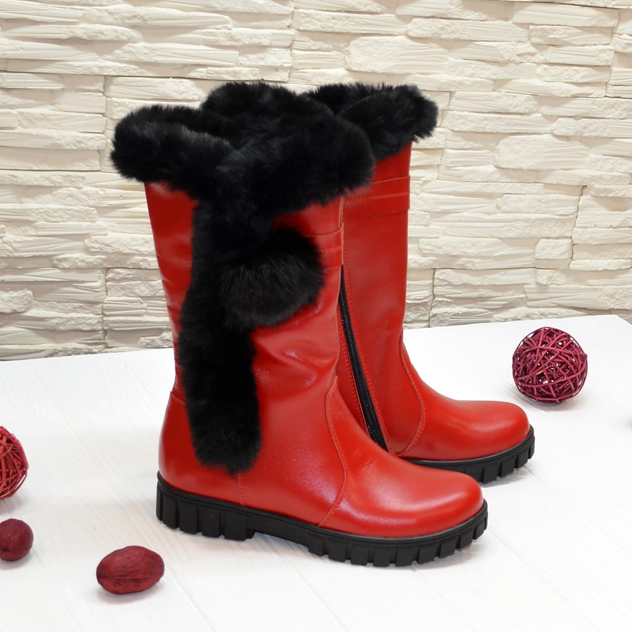 Полусапоги подростковые кожаные для девочек, на утолщённой подошве, цвет красный