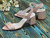 Женские кожаные босоножки на устойчивом каблуке, декорированы бусинками. Цвет розовый, фото 4