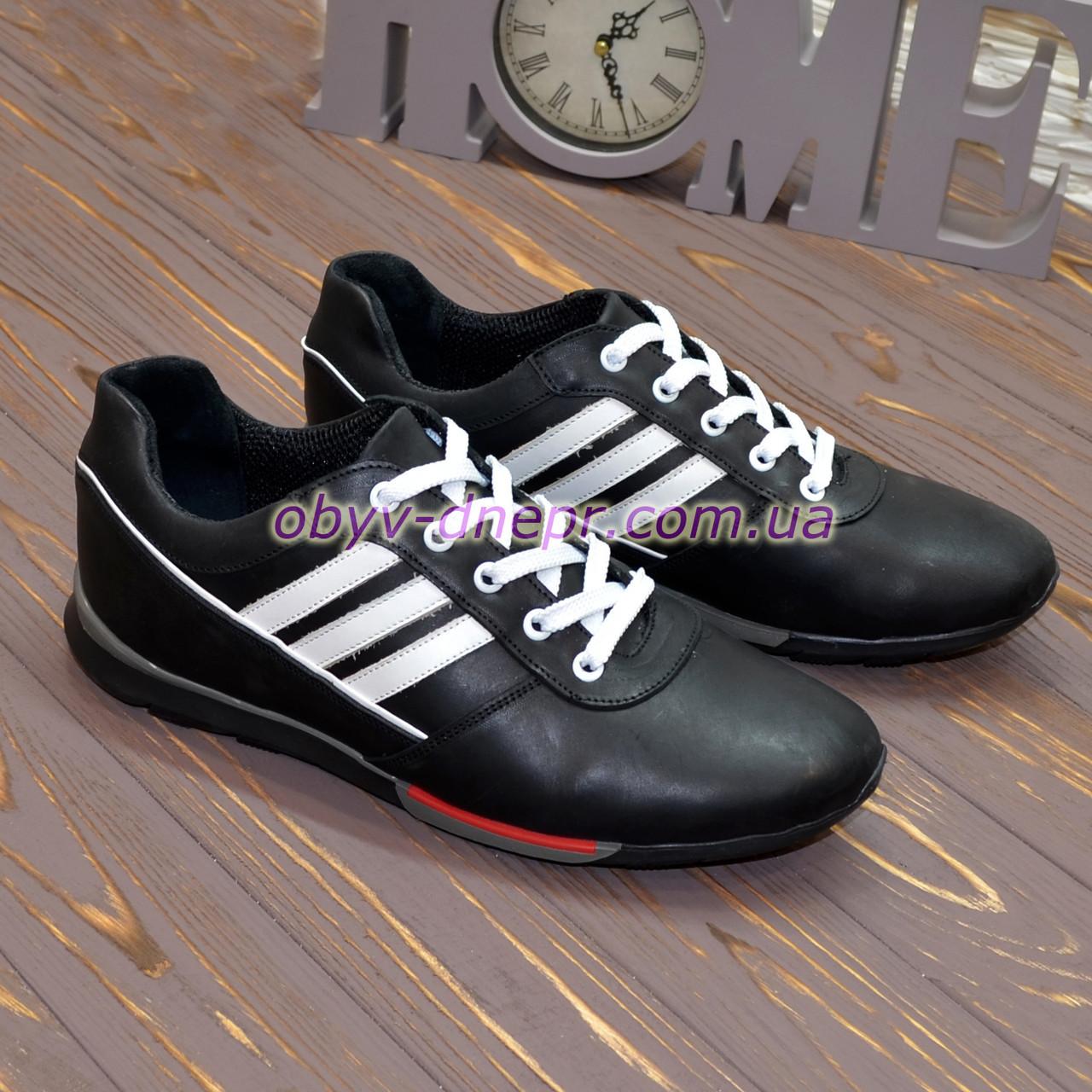 Кроссовки кожаные мужские на шнуровке, цвет черный