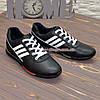 Кроссовки кожаные мужские на шнуровке, цвет черный, фото 3