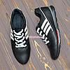 Кроссовки кожаные мужские на шнуровке, цвет черный, фото 4