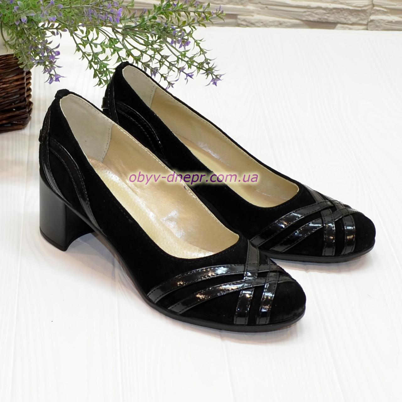 Туфли женские комбинированные на каблуке
