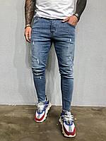 Мужские джинсы зауженные светло-синие 5262-3394