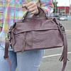 """Женская кожаная сумка-саквояж на длинной ручке  """"Аглая Dark Pink"""""""