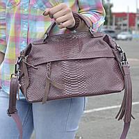 """Женская кожаная сумка-саквояж на длинной ручке  """"Аглая Dark Pink"""", фото 1"""