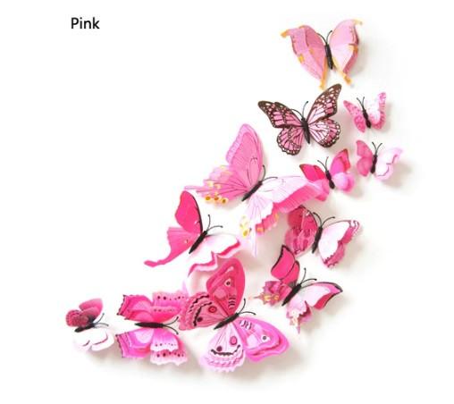 Розовые бабочки на магните - в наборе 12шт. разных размеров, в комплект так же входит 2-х сторонний скотч