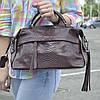 """Женская кожаная сумка-саквояж на длинной ручке  """"Аглая Brown"""""""