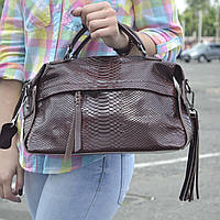 """Женская кожаная сумка-саквояж на длинной ручке  """"Аглая Brown"""", фото 1"""