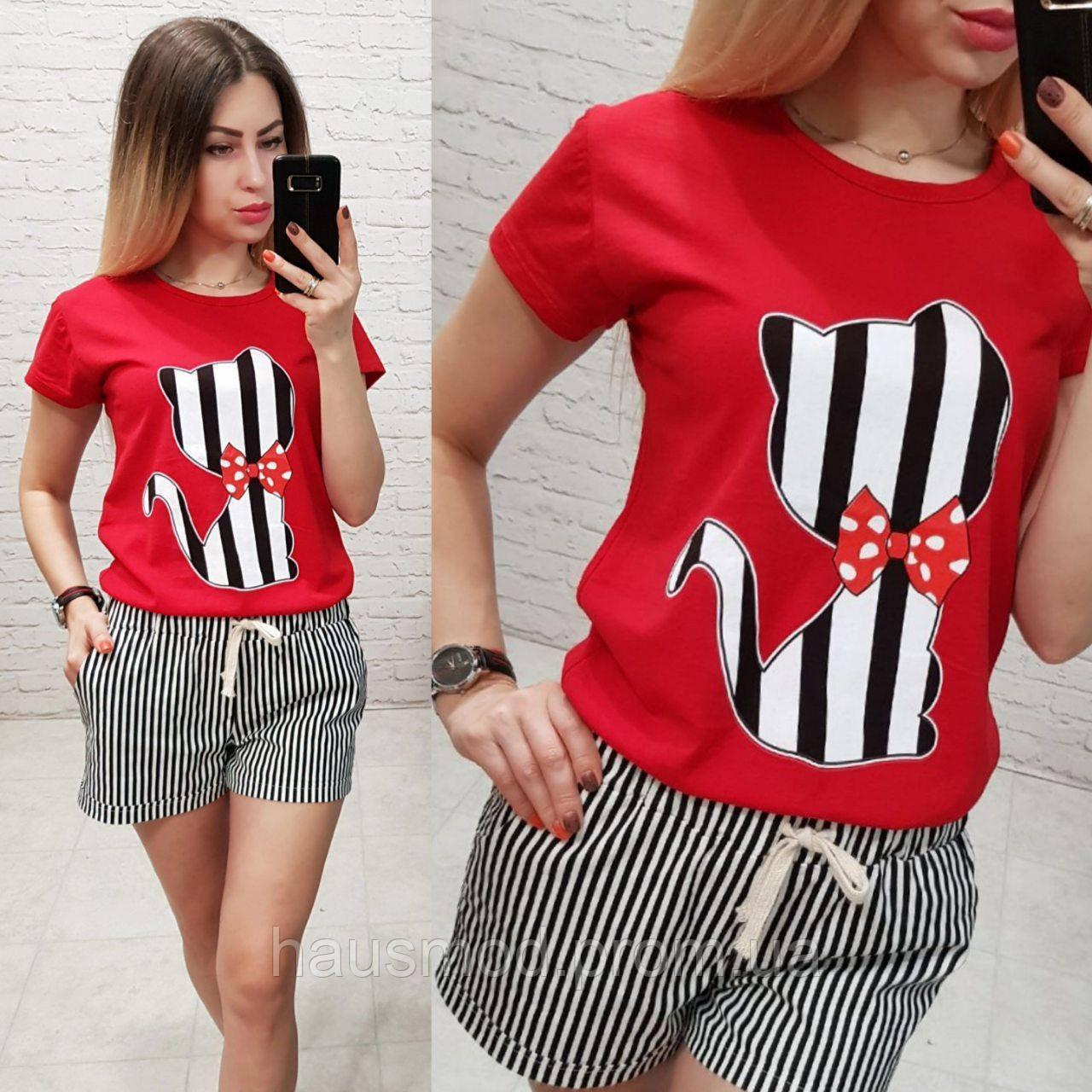 Женская футболка летняя рисунок Котик качество турция 100% катон цвет красный