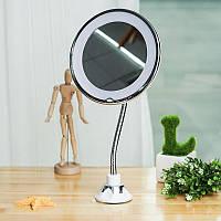 Косметическое зеркало с подсветкой на присоске Mirror Led (увеличение х5)