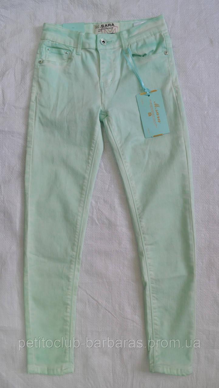 Летние джинсы для девочки мята (M.SARA, Польша)
