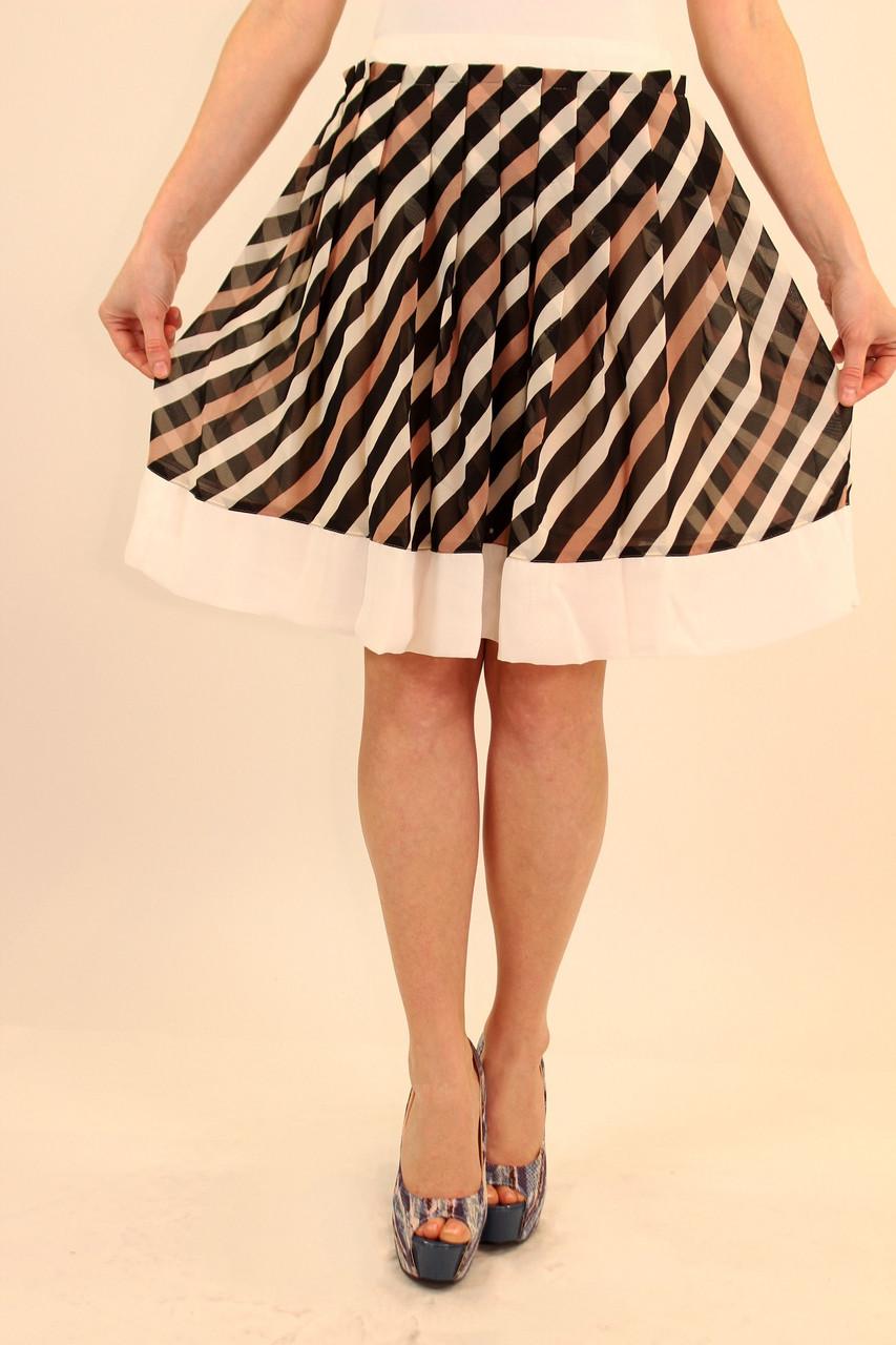 Шифоновая юбка по кругу в складку 42 р ( белый, оранжевый, бежевый )