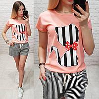 Женская футболка летняя рисунок Котик качество турция 100% катон цвет персиковый, фото 1