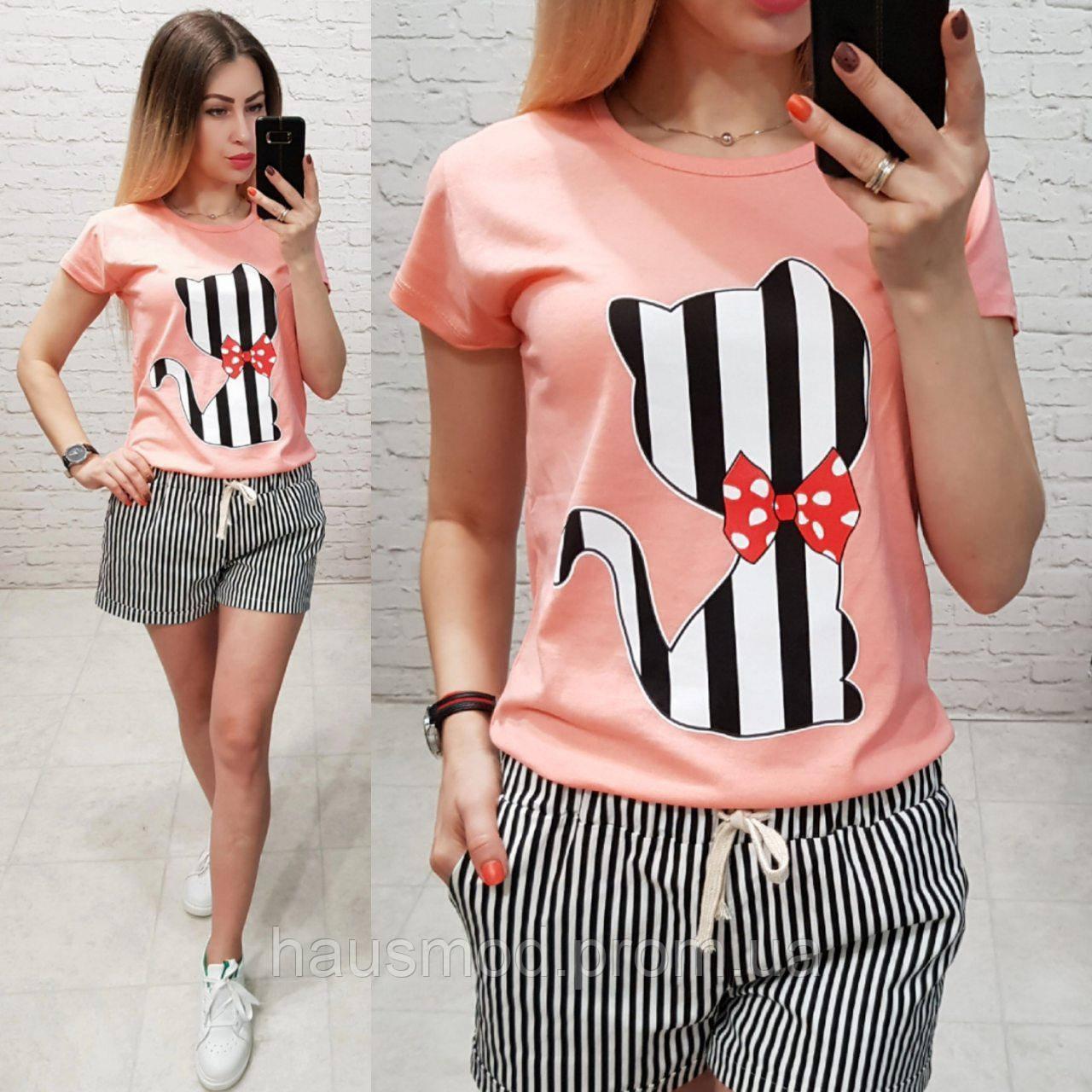 Женская футболка летняя рисунок Котик качество турция 100% катон цвет персиковый