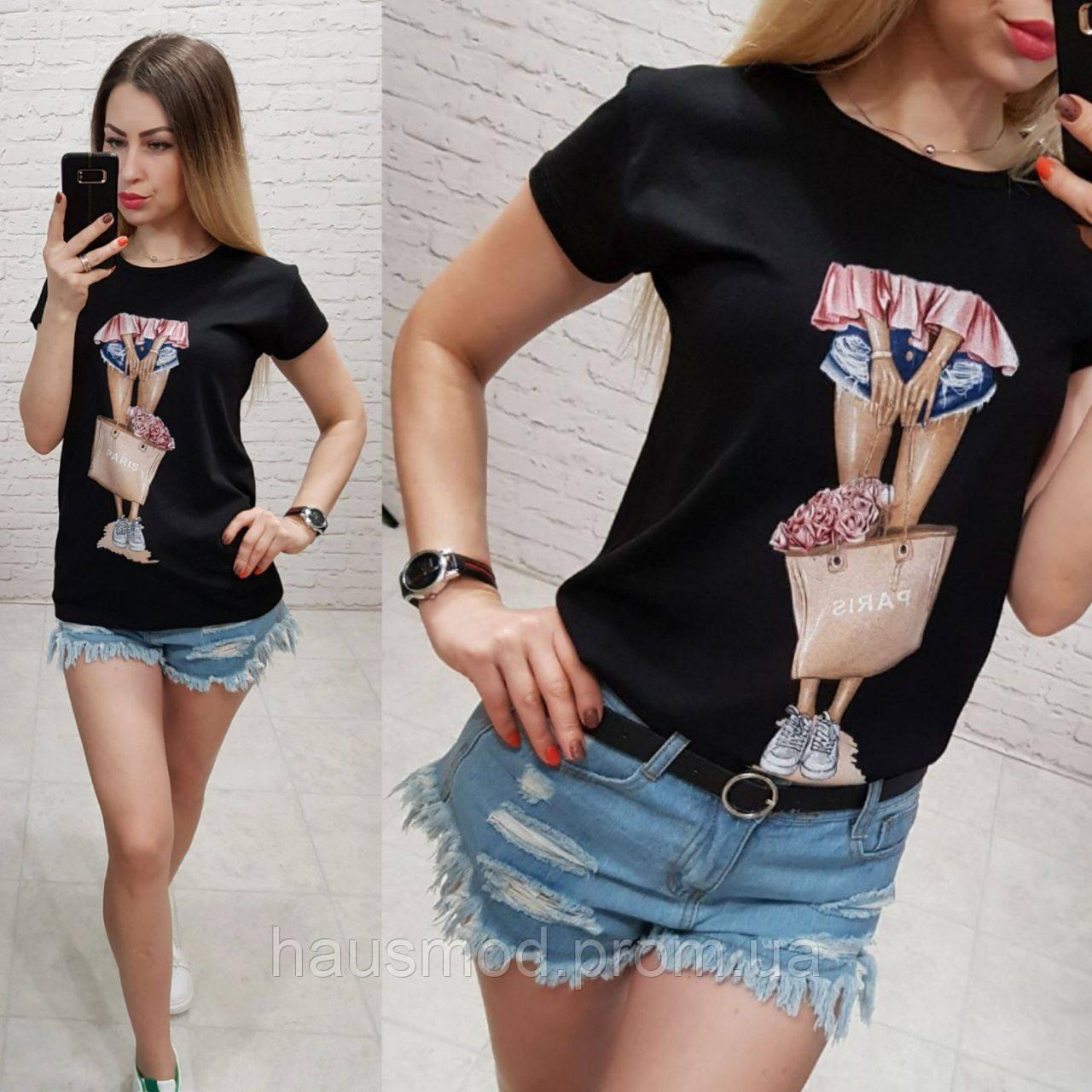 Женская футболка летняя рисунок Девочка качество турция 100% катон цвет черный