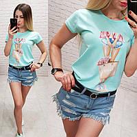 Женская футболка летняя рисунок Девочка качество турция 100% катон цвет бирюзовый, фото 1