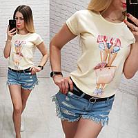Женская футболка летняя рисунок Девочка качество турция 100% катон цвет желтый, фото 1