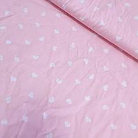 Сатин зі світло-рожевими сердечками на рожевому тлі, ширина 160 см, фото 1