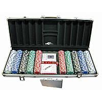 Покерный набор в кейсе (2 колоды карт +500 фишек) (59х25х9 см)(вес фишки 4 гр. d-39 мм)