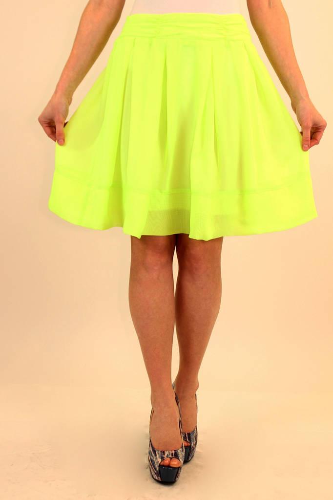 Шифоновая юбка в складку 42-48 р ( салатовый, оранжевый )