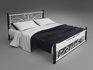 Двуспальная металлическая кровать Tenero Нарцис на деревянных ножках