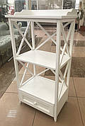 Белая этажерка с шухлядой 64x42x126 см