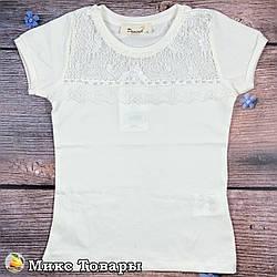 Блузка молочного цвета для девочки Размеры: 116,128,140,152,164 см (8615-1)