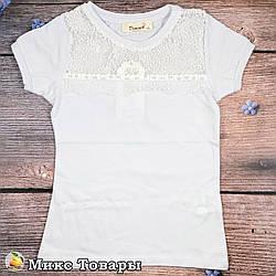 Блузка белого цвета для девочки Размеры: 116,128,140,152,164 см (8615-2)