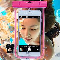 Водонепроницаемый чехол для телефона со светящимся ободком розовый, фото 1
