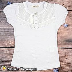 Белая блузка с коротким рукавом для девочки Размеры: 116,128,140,152,164 см (8616)