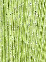 Однотонные шторы нити дождь ярко-салатовые