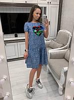 Женское модное летнее джинсовое платье с рисунком