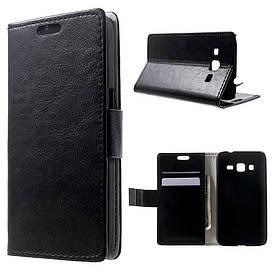 Чехол Samsung Galaxy Core Prime G360H книжка боковой с отсеком для визиток, PREMIUM гладкая кожа, черный