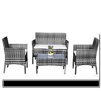 Комплект садовой мебели плетеной из ротанга BELEN (серый)
