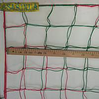 Сетка для футзала, гандбола D 2,5 мм. 12 см. ячейка, для мини-футбол красно-зеленая