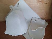 """Набор банный шапка, коврик, рукавица """"Белый"""" V3"""