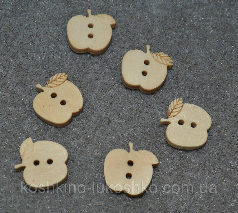 Деревянная пуговица яблоко16 мм x 16 мм