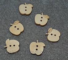 Дерев'яна ґудзик яблоко16 мм x 16 мм