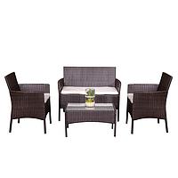 Комплект садовой мебели плетеной из ротанга BELEN (коричневый)