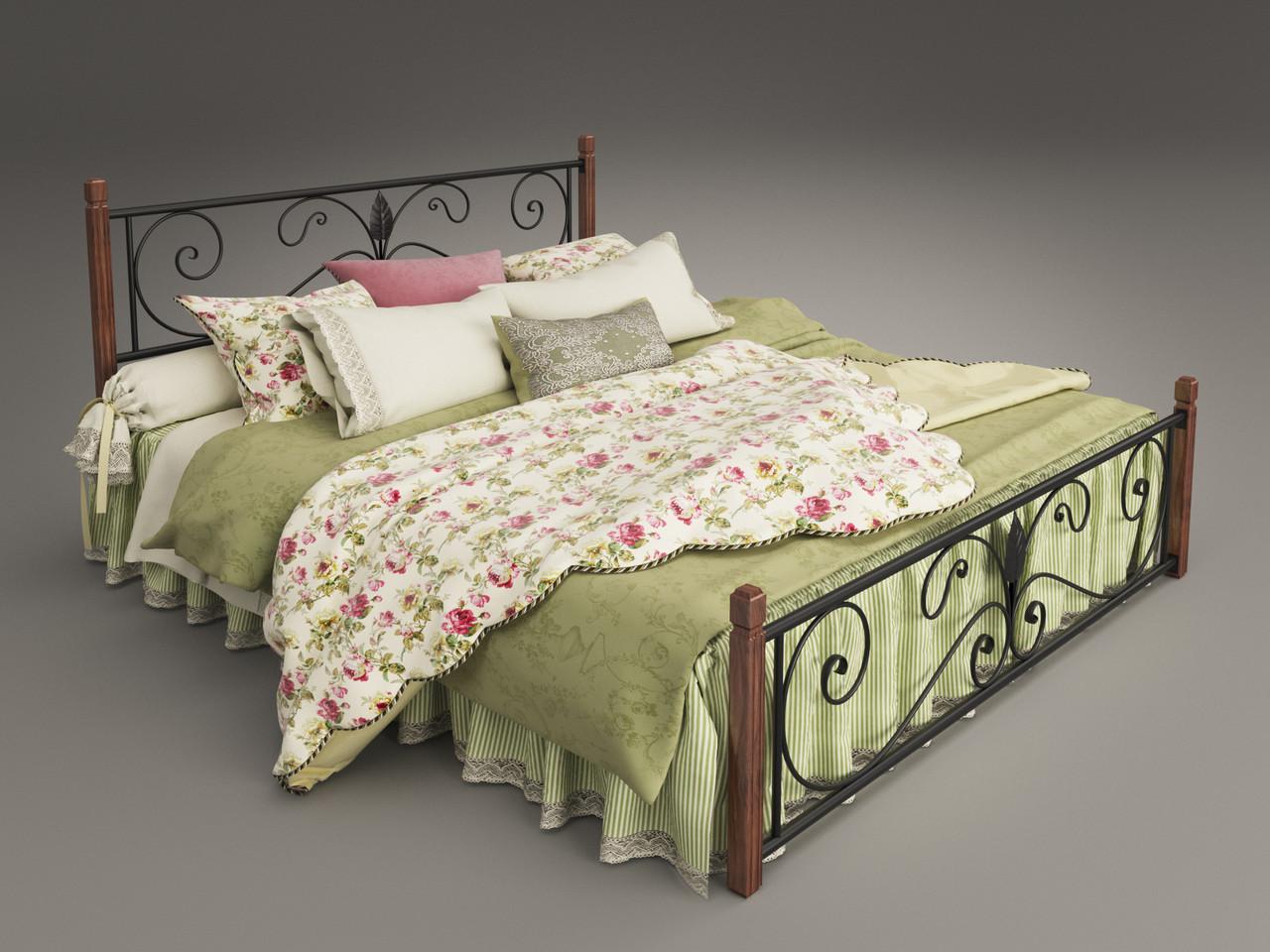 Двуспальная кровать Tenero Крокус на деревянных ножках, металлическая