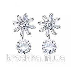 Срібні сережки пусети джекети квіти з камінням Україна