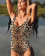 Сдельный купальник с крылышками леопардовый.